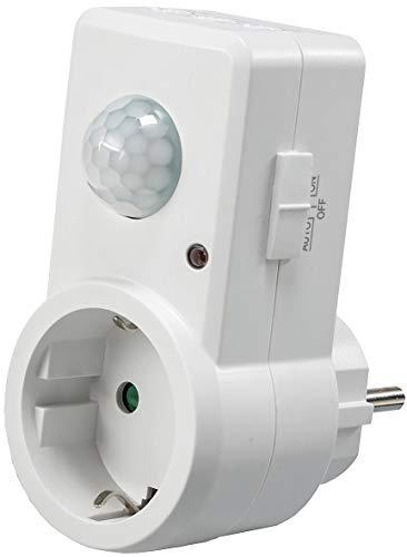 ChiliTec Zwischenstecker Steckdose mit Bewegungsmelder 120° I 9m Reichweite 230V 1200W LED geeignet I Schaltzeit regelbar 10sek.-15min I Empfindlichkeit einstellbar I Weiß