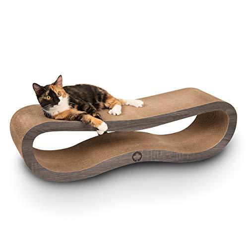 CanadianCat Company ® | XXL Orbit | 84 X 24 X 23cm | Kratzmöbel, Kratzbrett | Kratzpappe + Katzenminze | dunkelgraue Holzoptik für Katzen