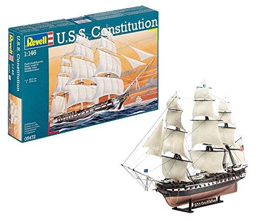 Revell Modellbausatz Schiff 1:146 - U.S.S. Constitution im Maßstab 1:146, Level 5, originalgetreue Nachbildung mit vielen Details, Segelschiff, 05472