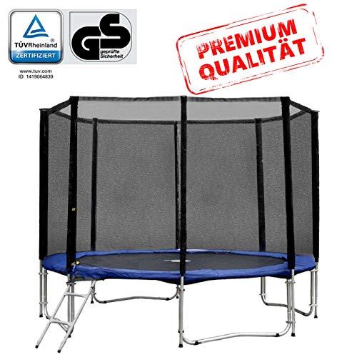 Gartentrampolin Trampolin 305 bis 310 cm in blau mit Sicherheitsnetz und Einstiegsleiter