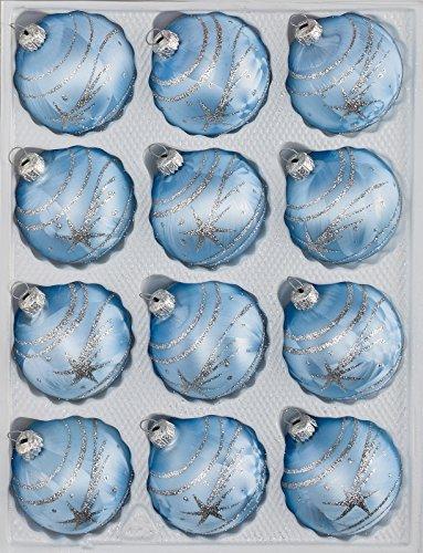 12 TLG. Glas-Weihnachtskugeln Set in Ice Blau Silber Komet- Christbaumkugeln - Weihnachtsschmuck-Christbaumschmuck