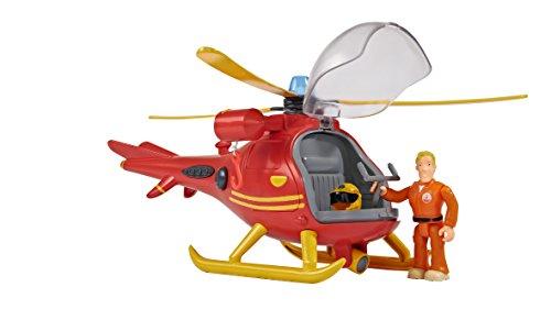 Simba – Feuerwehrmann Sam Hubschrauber Wallaby, mit Tom Thomas Figur, mit Licht und Originalsound, mit drehbarem Rotor und mechanischer Seilwinde, 24cm, für Kinder ab 3 Jahren