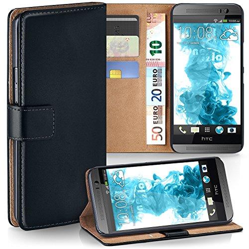 MoEx® Booklet mit Flip Funktion [360 Grad Voll-Schutz] für HTC One M8 | Geldfach und Kartenfach + Stand-Funktion und Magnet-Verschluss, Schwarz