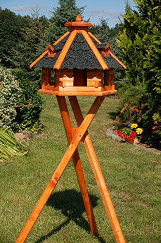 Vogelhaus von klein bis Riesig XXL Futterhaus Futterhäuschen Vogelvilla V18, Vogelfutterhaus aus Holz mit Solarbeleuchtung beleuchtet (Schwarz, mittel mit Ständer)