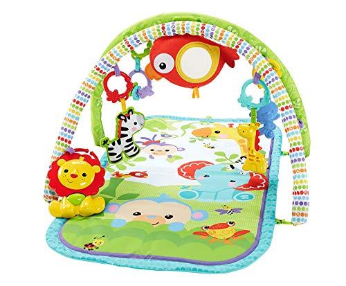 Fisher-Price CHP85 - Rainforest-Freunde 3-in-1 Spieldecke, tragbare Baby Krabbeldecke inkl. abnehmbaren Spielzeugen, ab Geburt