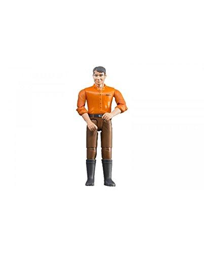 Bruder 60007 - Minifigur-bworld Mann mit hellem Hauttyp und brauner Hose