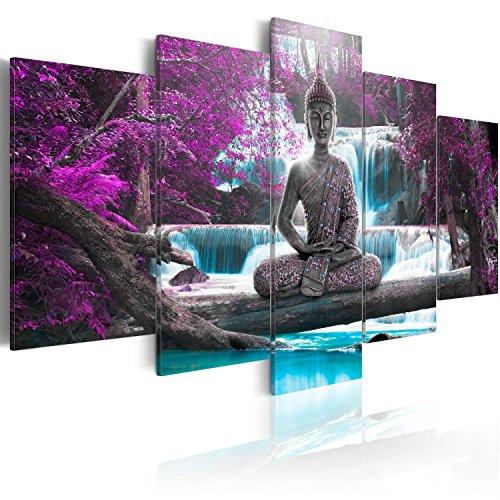 murando - Bilder 200x100 cm Vlies Leinwandbild 5 TLG Kunstdruck modern Wandbilder XXL Wanddekoration Design Wand Bild - Buddha Landschaft Natur Wasserfall Baum Wald c-A-0021-b-o