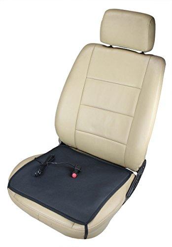 ObboMed SH-4050F 12V 24W Tragbares Beheizbares Auto Sitzkissen mit Patentiert Zigarettenanzünderstecker und sicheren Befestigungshaken für Fahrzeuge; Schwarz - 43 x 43 cm
