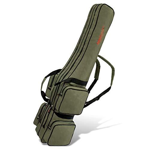 Allround Rutentasche Angeln Tasche mit 2 Innenfächern für Angelruten, Kescher und Rutenhalter - 190cm - Oliv