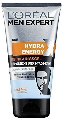 L'Oréal Paris Men Expert Hydra Energy Extreme Reinigungsgel, für Gesicht und 3-Tage-Bart, spezielle Bartpflege für 3-Tage-Bärte, erfrischend, belebend, macht den Bart weicher, 150 ml