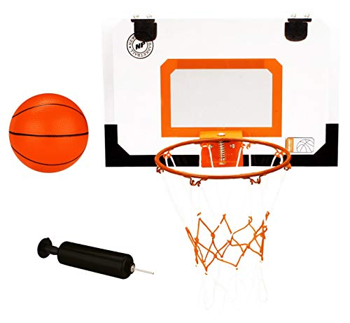 New Port Mini Basketballboard with Ring, Ball and Pump, Transparent/Black/Orange, one Size