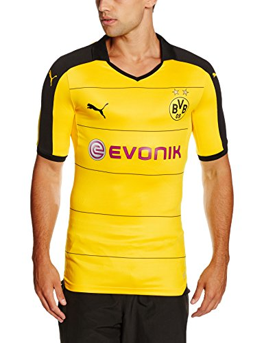 Puma Trikot BVB Home Replica Shirt with Sponsor Herren Trikot, Cyber Yellow/Black, 747991 01
