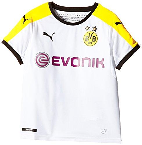 PUMA Kinder Trikot BVB Third Replica Shirt with Sponsor, White, Black, Cyber Yellow, 176