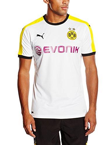 PUMA Herren Jacke BVB T7 Sweat Jacket Trikot, White-Black-Cyber Yellow, S