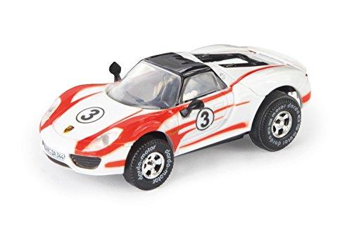 Darda 50344 - Darda Auto Porsche 918 Spyder Weissach Salzburg Racing Design weiß / rot, ca. 8 cm, Rennauto mit auswechselbaren Rückzugsmotor, Fahrzeug mit Motor zum Aufziehen für Kinder ab 5 Jahre