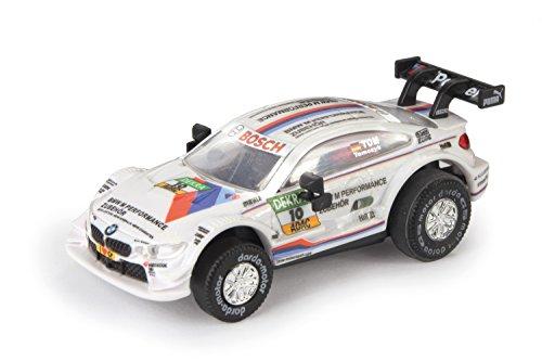 """Darda 50386 - Darda Auto BMW M4 DTM \""""Tomczyk\"""" weiß, ca. 8 cm, Rennauto mit auswechselbaren Rückzugsmotor, Fahrzeug mit Motor zum Aufziehen für Kinder ab 5 Jahre, Aufziehauto für Darda Rennbahnen"""
