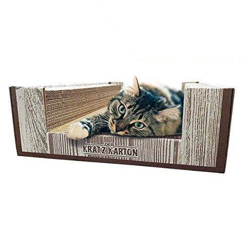 CanadianCat Company ® | Der KRATZKARTON | Kratzmöbel, Kratzbrett | Qualitäts-Wellpappe + Katzenminze | XXL | 34 X 56 X 12cm