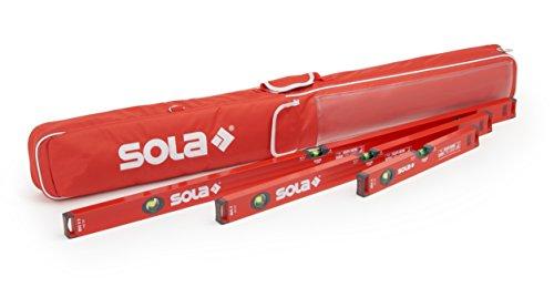 Wasserwaage 40cm /80cm /120cm | Sola Wasserwaage 3er Set | Inklusive Schutztasche mit Außentaschen & Tragegriff | Wasserwaagen mit WFix Meterstab