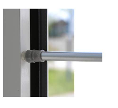 BEAUTEX Klemmstange für Fenster Gardine Länge wählbar bis 120 cm, ausdrehbar mit Saugknopf (Silber 80-120 cm)