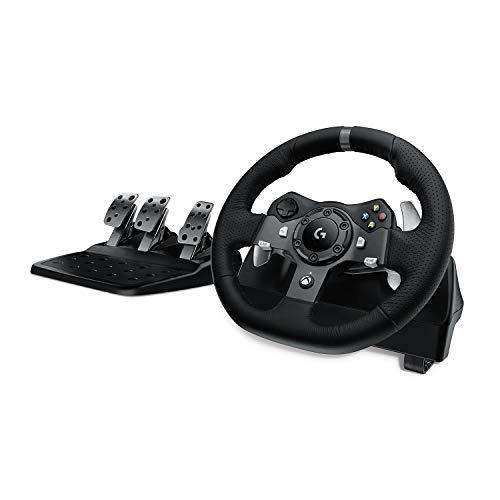 Logitech G920 Driving Force Gaming Rennlenkrad, Zweimotorig Force Feedback, 900° Lenkbereich, Leder-Lenkrad, Verstellbare Edelstahl Bodenpedale, Xbox One/PC/Mac, schwarz