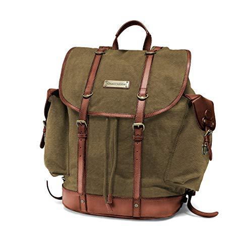 """DRAKENSBERG Backpack - Bergsteiger Rucksack im Retro-Vintage-Design mit 13"""" Laptopfach, handgemacht in Premium-Qualität, 30L, Canvas und Leder, Olivgrün, DR00127"""