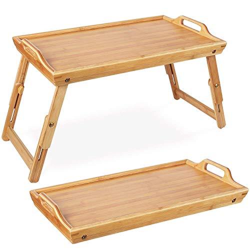 Homfa Bambus Frühstückstisch fürs Bett höhenverstellbar faltbar Betttablett mit klappbaren Beinen Betttisch Frühstück Tabletttisch Lapdesk Servierplatte Serviertablett 31.3x50x20.5-30cm(BxTxH)