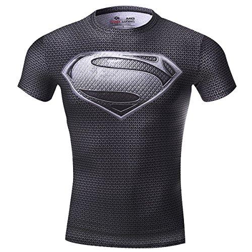 Cody Lundin Herren Kompression Rüstung Amerika Held Logo Fitness Laufen Sport Kurzarm, Superman Grau, L