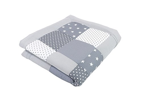 ULLENBOOM ® Baby Krabbeldecke Graue Sterne (120x120 cm Baby Kuscheldecke, ideal als Laufgittereinlage, Spieldecke, Motiv: Punkte, Sterne, Patchwork)