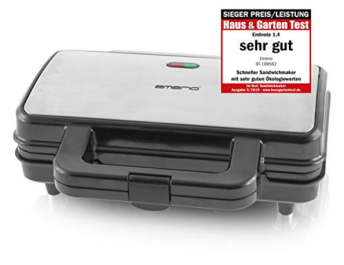Emerio ST-109562, XXL Sandwichtoaster für Alle Toastgrößen Geeignet, Edelstahl, Große Muschelform, Kein Auslaufen, 900 Watt