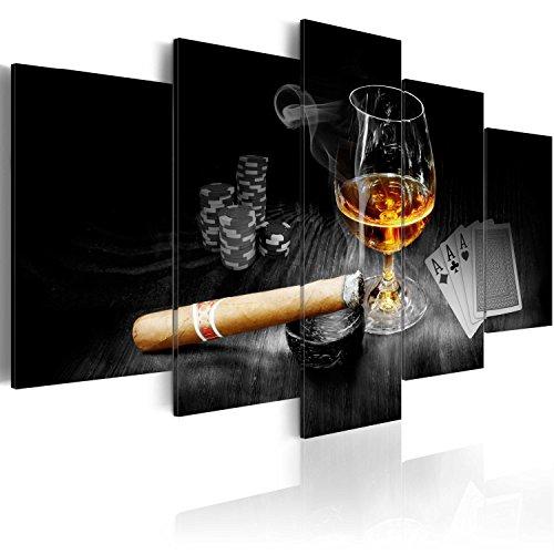 murando - Bilder Alkohol 200x100 cm Vlies Leinwandbild 5 TLG Kunstdruck modern Wandbilder XXL Wanddekoration Design Wand Bild - Alkohol Zigarre Poker Whisky i-A-0101-b-o