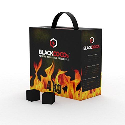BLACKCOCO's - 4 KG Premium Shisha Kohle Naturkohle Kokosnuss und BBQ - Hochwertige Kokos Coal Briketts für Wasserpfeife & Grill - Shisha Würfel Kohlen & Grillkohle mit langer Brenndauer
