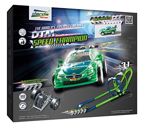 Darda 50251 - Darda Rennbahn DTM Speed Champion, Fahrbahnlänge ca. 3,80 m, mit 2 Loopings, Steilkurve und DTM Rennwagen BMW M4 Farfus, Rennauto Spielset für Kinder ab 5 Jahre, 1 Aufbauvarianten
