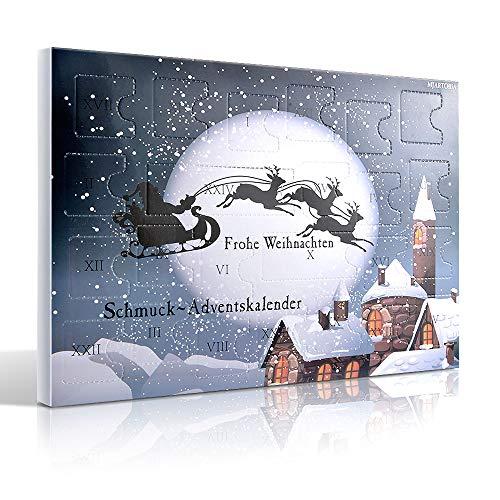 MJARTORIA Schmuck Adventskalender 2021 Damen Mädchen Frauen Kinder Xmas Weihnachtskalender mit 24 Überraschungen Kette Brosche Button Charms(Schwarzer Elch)