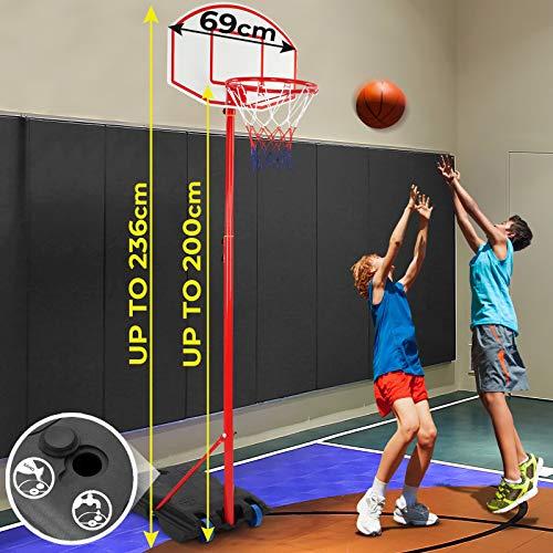 Infantastic Basketballständer mit Rollen   höhenverstellbar bis 236 cm, für drinnen und draußen   Basketballkorb mit Ständer, Basketballanlage, Hoop Stand für Kinder