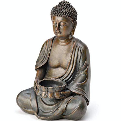 SVITA Buddha Figur mit Teelichthalter Statue Skulptur FENG Shui 23 cm Amitabha sitzend