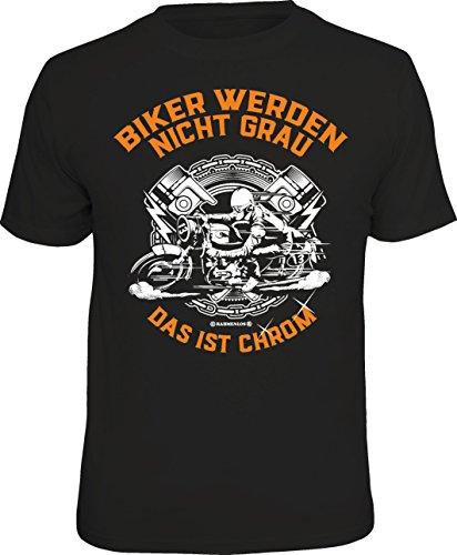 RAHMENLOS Original Geschenk-T-Shirt für den etwas älteren Motorradfahrer: Biker Werden Nicht grau - ist Chrom, Schwarz, XXL