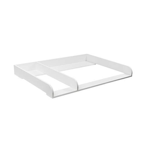 Puckdaddy XXL-Rund + Trennfach Wickelaufsatz für IKEA Hemnes Kommode in 1,08m, weiß