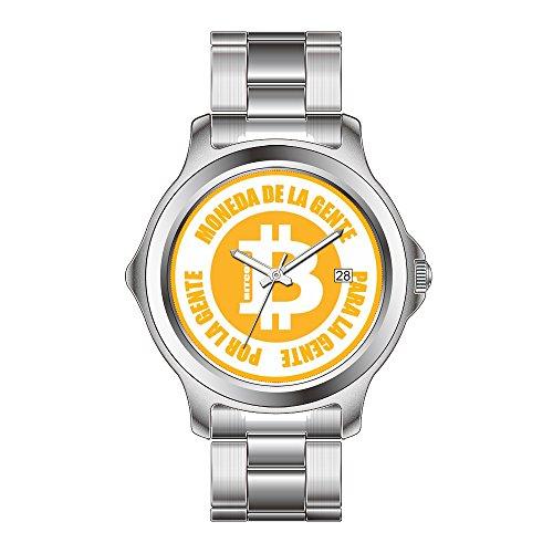FDC Weihnachten Geschenk Uhren Herren Fashion Japanisches Quarz-Datum Edelstahl Armband Armbanduhr Bitcoin Moneda de la Gente para Gente Por La Gente Handgelenk Uhren
