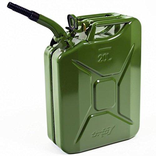 Oxid7® Benzinkanister Kraftstoffkanister Metall 20 Liter Olivgrün inkl. Ausgießer mit UN-Zulassung - TÜV Rheinland Zertifiziert - Bauart geprüft - für Benzin und Diesel