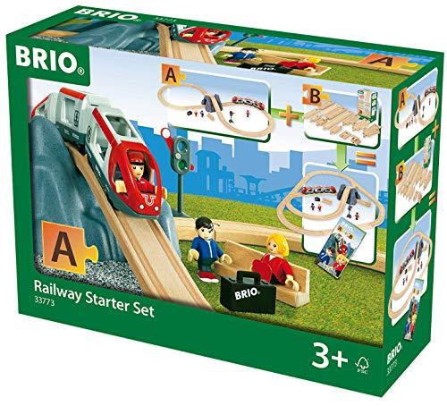BRIO World 33773 Eisenbahn Starter Set A - Die perfekte erste Holzeisenbahn mit Tunnel und Figuren - Kleinkinderspielzeug empfohlen ab 3 Jahren