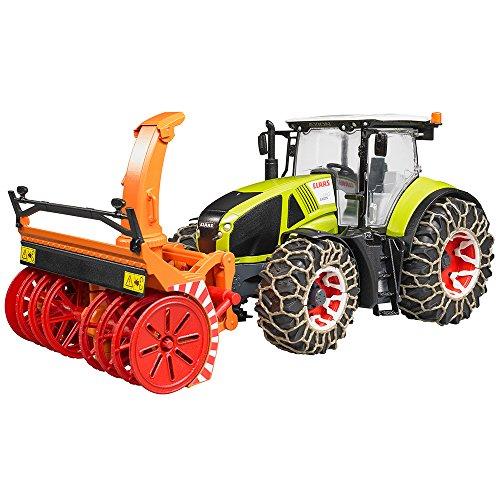 bruder 03017 Toys Claas Axion 950 mit Schneeketten und Schneefräse, grün