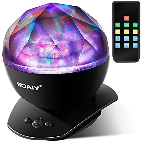 SOAIY LED Farbwechsel Nachtlicht-Lampe mit Projektion, 4 Timer, 3 Helligkeitsstufen, Fernbedienung