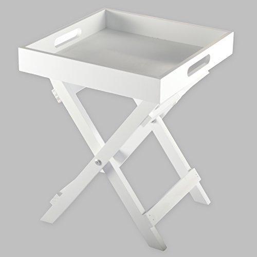 Clic-And-Get Butlers Tray Mini Tablett Klapp Tisch Klapptisch Holz 30cm Serviertisch Beistelltisch (Weiß)