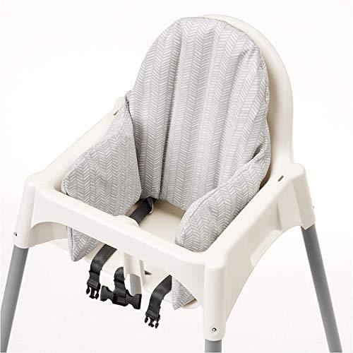Kinderhochstuhl Antilop von Ikea mit Tablett und Sicherheitsgurt, weiß und silber, komplett mit Sitzkissen