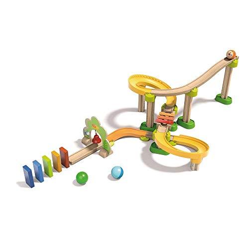 HABA 302056 - Kullerbü - Kugelbahn Sim-Sala-Kling, Holzkugelbahn mit vielen spannenden Bauelementen, Glöckchen-Tor und Klangtreppe, 38 Bauteile, Spielzeug ab 2 Jahren