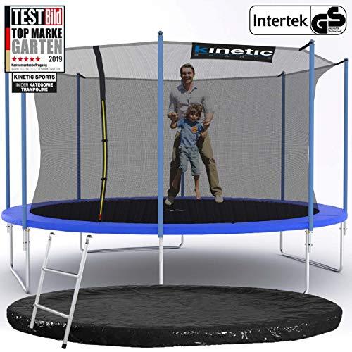 Kinetic Sports Outdoor Gartentrampolin Ø 425 cm, TPLS14, inklusive Sprungtuch aus USA PP-Mesh +Sicherheitsnetz +Rand- u. Regen-Abdeckung +Leiter, bis 160kg, GS-geprüft,UV-beständig, BLAU