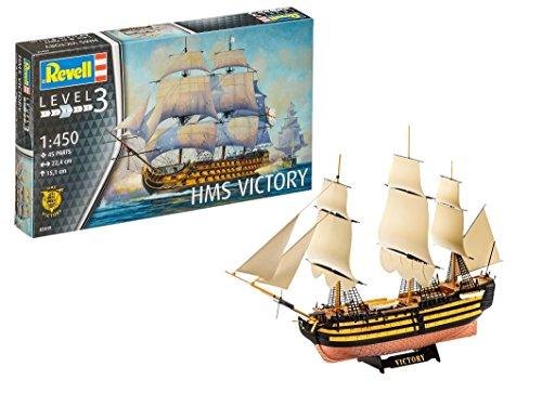 Revell 80-5819 Modellbausatz Schiff 1:450 - HMS Victory im Maßstab 1:450, Level 3, originalgetreue Nachbildung mit vielen Details, Segelschiff, 05819