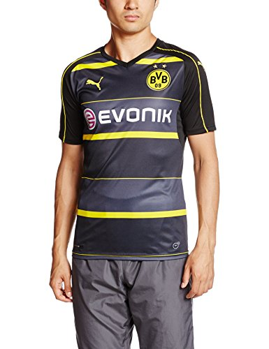 Puma Herren Trikot BVB Away Replica Shirt with Sponsor Logo, Black-Cyber Yellow, L, 749823 02