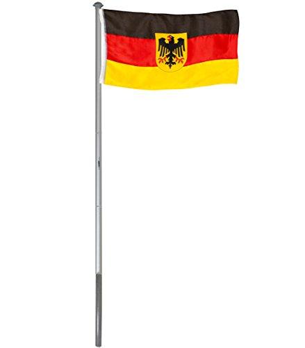 Brubaker Aluminium Fahnenmast Flaggenmast 6 m inklusive Deutschland Flagge + Deutschland Flagge mit Adler 150 x 90 cm und Bodenhülse