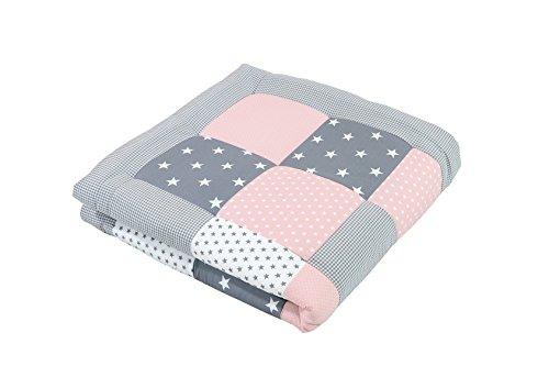 ULLENBOOM ® Baby Krabbeldecke Rosa Grau (100x100 cm Baby Kuscheldecke, ideal als Laufgittereinlage, Spieldecke, Motiv: Punkte, Sterne, Patchwork)